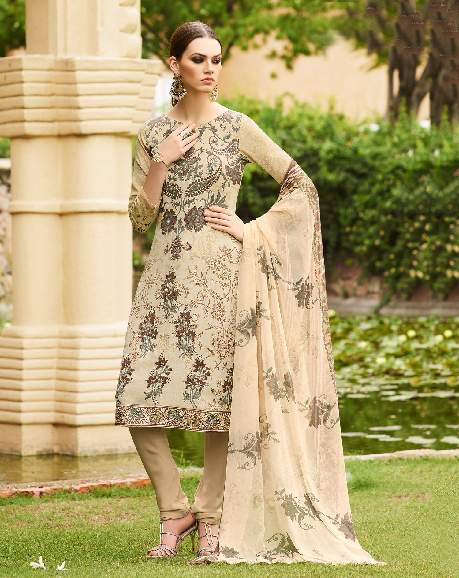 Buy Top: Beige; Bottom: Beige; Dupatta: Beige Beige French Crepe Unstitched Suit for women Online  At Flash Sale | Styletag, India
