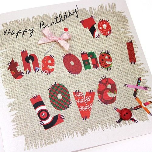 Handmade birthday card one i love patchwork appliqu sewing crafts handmade birthday card one i love patchwork appliqu sewing crafts happy birthday to the one i bookmarktalkfo Image collections