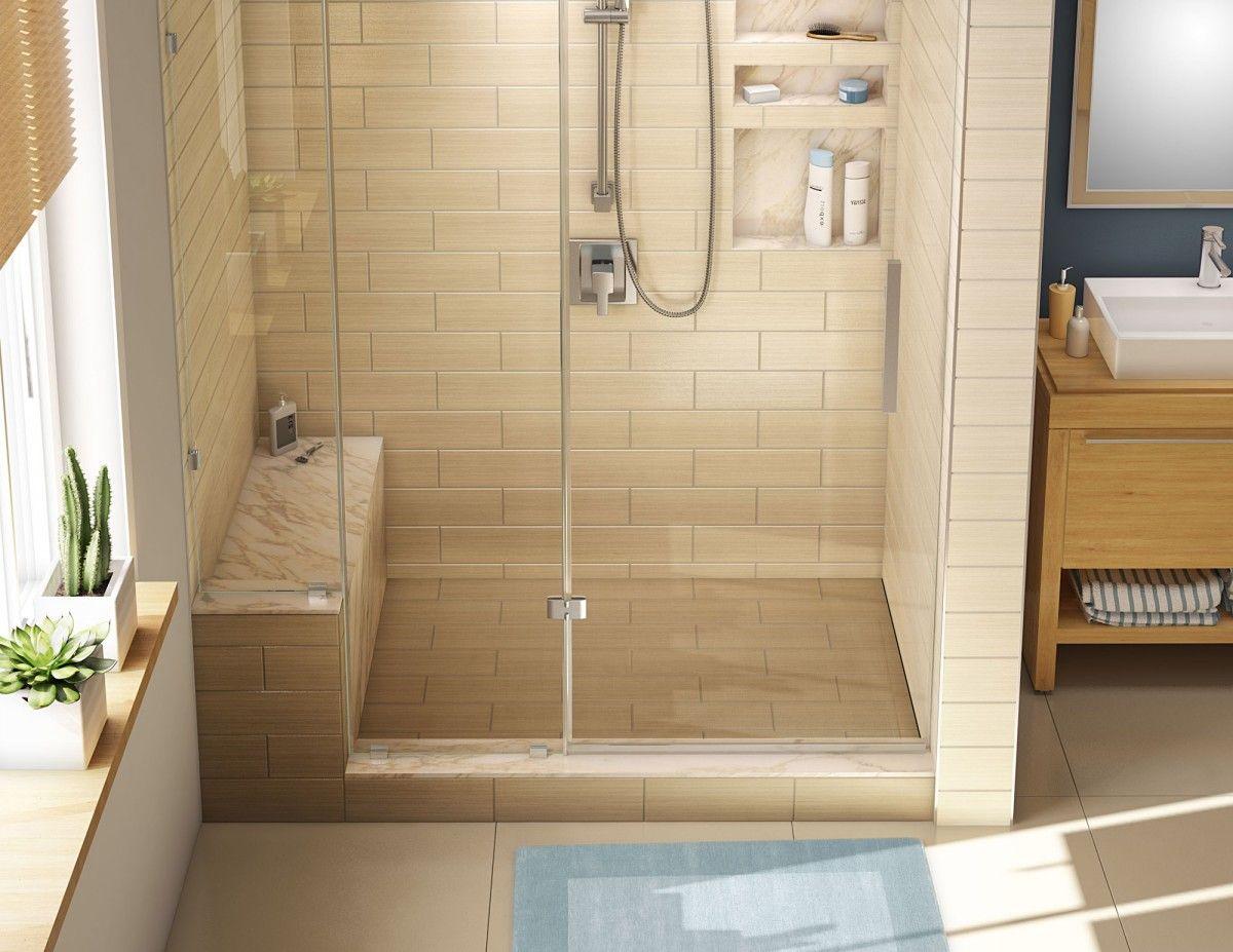 Kit: WonderFall Trench Right Drain Single Curb Shower Pan, 32u2033D X 60
