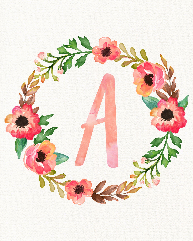 Initial Wall Art Alphabet Wallpaper Floral Background