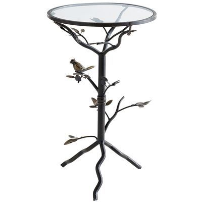 Perched Bird Bronze Accent Table Wrought Iron Table Decor