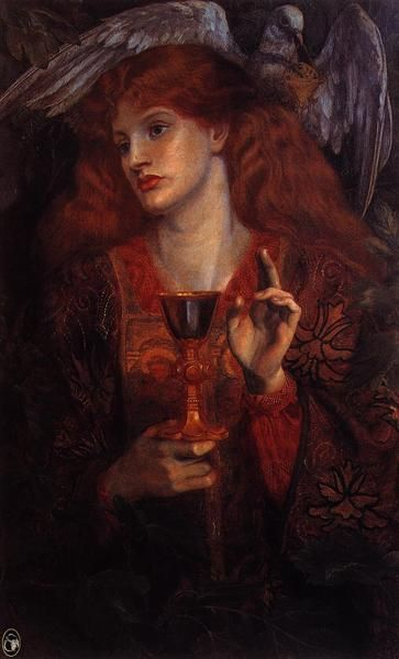 The damsel of the Sanct Grail - Burne-Jones Edward Style: Romanticism Genre: literary painting