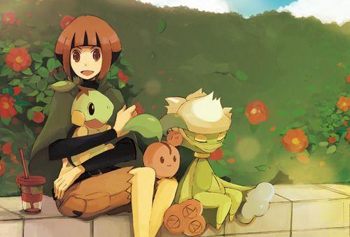 Gardenia Turtwig Roserade And Cherubi Pokemon Pokemon People
