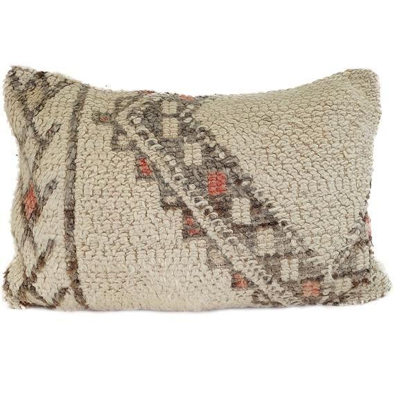 Moroccan Pillow Beni Ourain, Moroccan Pillow 100% wool, Authentic beni ourain Cushion Cover, Handmade Cushion, Boho Pillow 23.6 x 15.7 inch