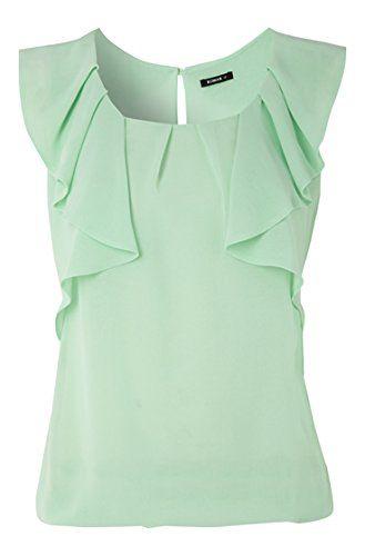 8cacac9de53 Roman Women's Top Sleeveless Frill With Elastic Hem Tops Mint Green ...