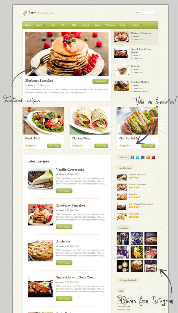 petit recipe wordpress theme food retail wordpress theme