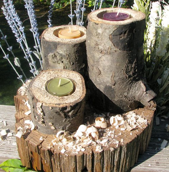 3 Spalted wood candle holders for rustic, barn, woodland weddings or events, decoration, decor, natural tree branch, log candle holders on Etsy, $20.00