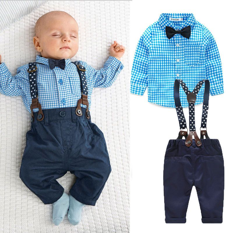 New boy baby kids boy bow tie plaid shirt tops suspender for Baby shirt and bow tie