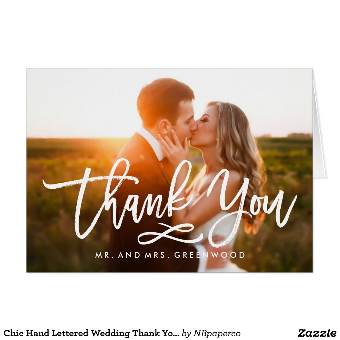 Chic Hand Lettered Wedding Thank You Photo Card | Photo cards ...