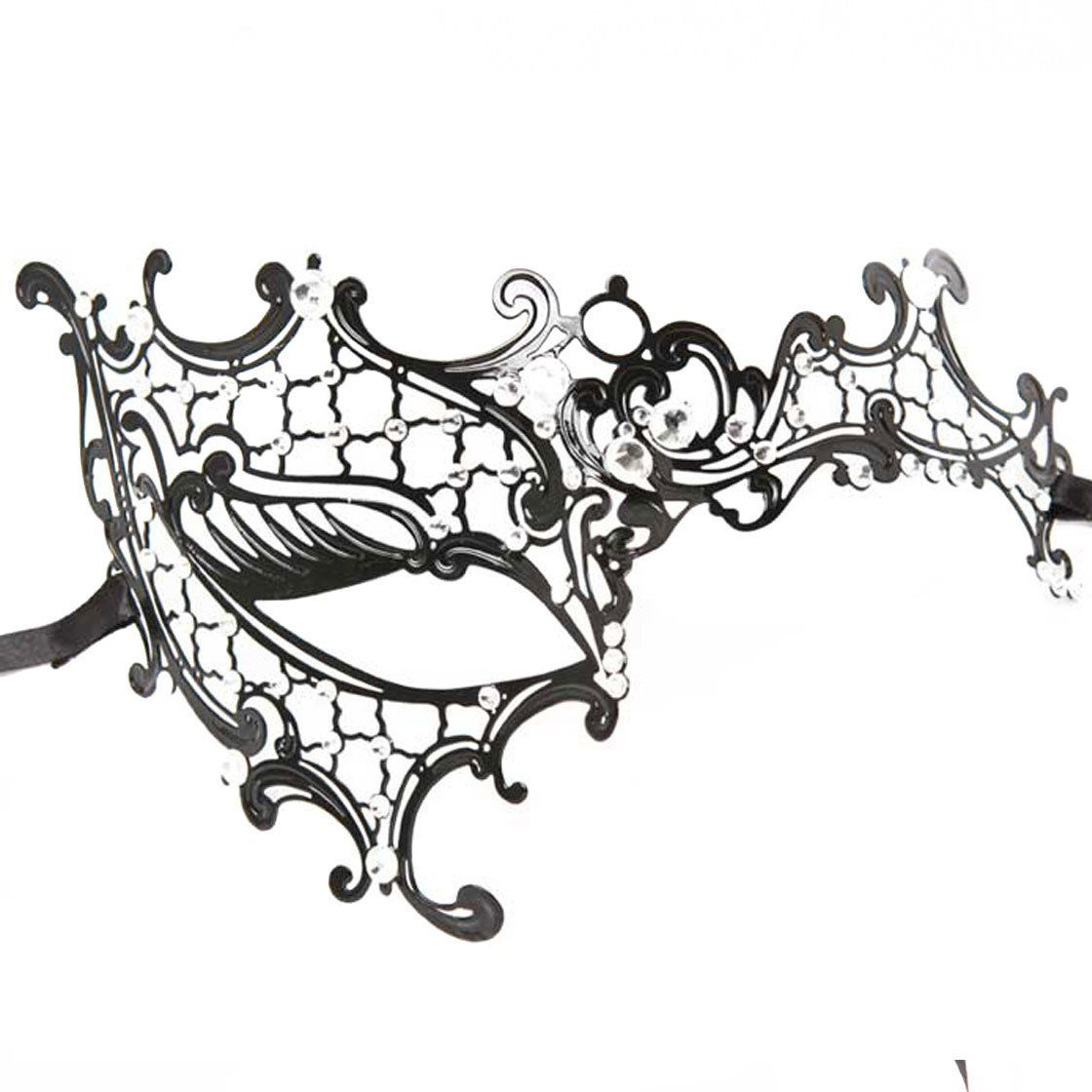 Masquerade mask masquerade mask vine mask metal lace masquerade - Black Laser Cut Metal Venetian Masquerade Mask One Size Fit All Handmade Artwork And Natural Diamond