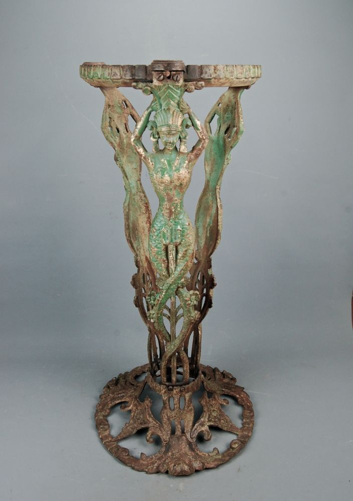 Art Deco Egyptian Revival Cast Iron Mermaid Table STAND BASE PEDESTAL Booth  Co