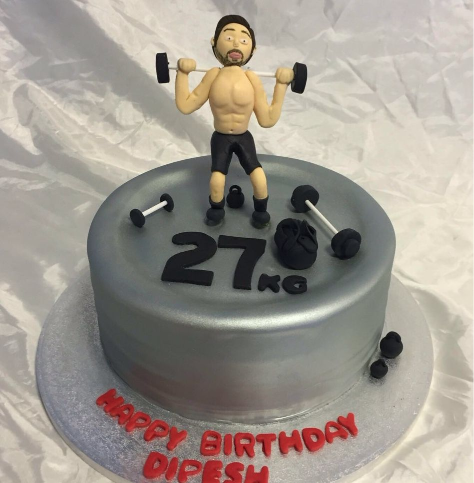 Gym themed cake for a young man who works out a lot gymcake