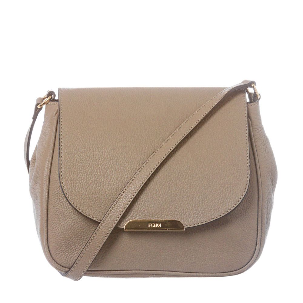 Fendi Taupe Pebbled Leather Crossbody Bag Ping The Best Deals On Designer Handbags