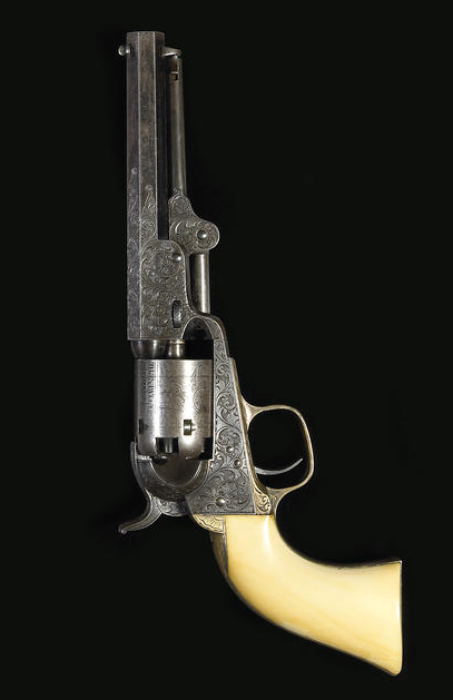 A Gustave Young engraved Colt Model 1849 Pocket percussion revolver, elephant ivory grips, U.S.A.