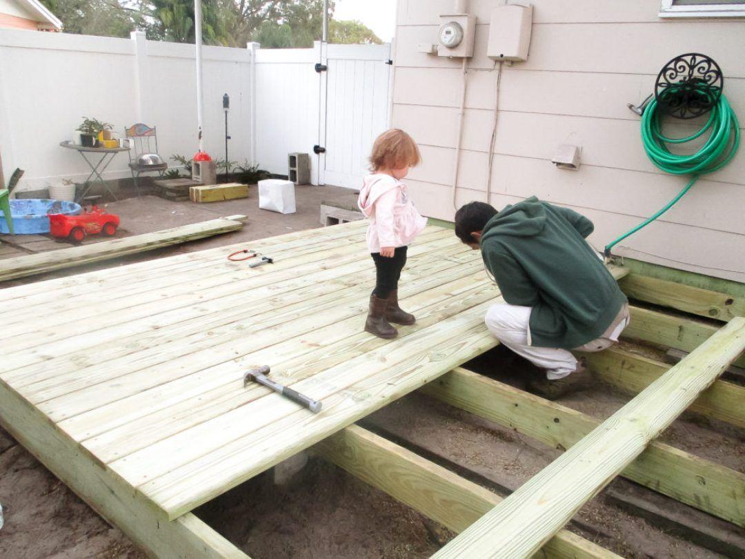 How I Built My Diy Floating Deck For Less Than 500 Diy Deck Floating Deck