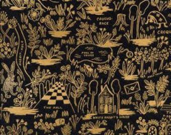 Rifle Paper Co. Magic Forest in Midnight Fabric Modern Wonderland Collection Cotton + Steel Collaboration Gold Metallic Alice in Wonderland