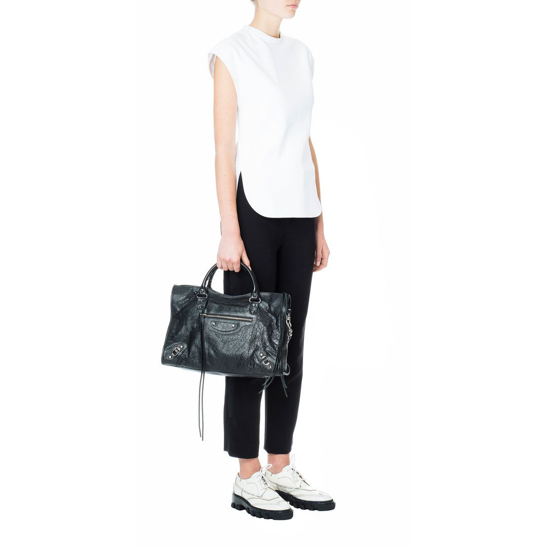 BALENCIAGA Classic Silver City (Medium Size lambskin hand carry and shoulder  bag with classic studs