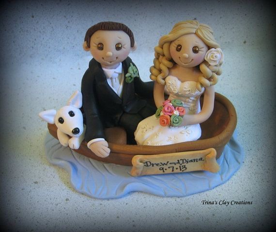 Bride And Groom In Boat Wedding Cake Topper By Trinas Clay Creations