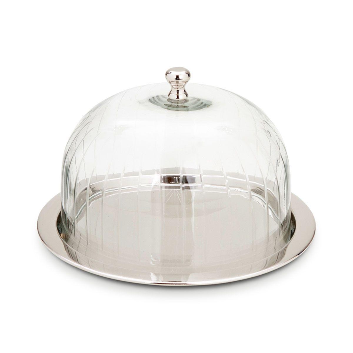 cute kitchen gadgets play dishes boleira quadrada com prato em vidro e metal niquelado