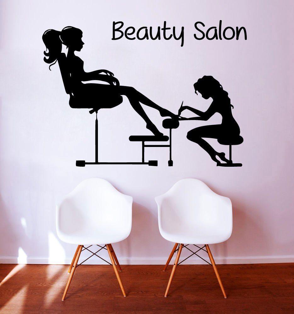 Salon Wall Art hair & beauty salon - wall sticker hairdressing art transfer lady