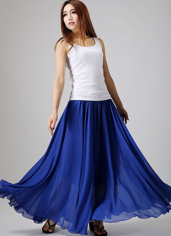 234e7a0f75 Royal blue skirt woman maxi skirt custom made chiffon by xiaolizi ...