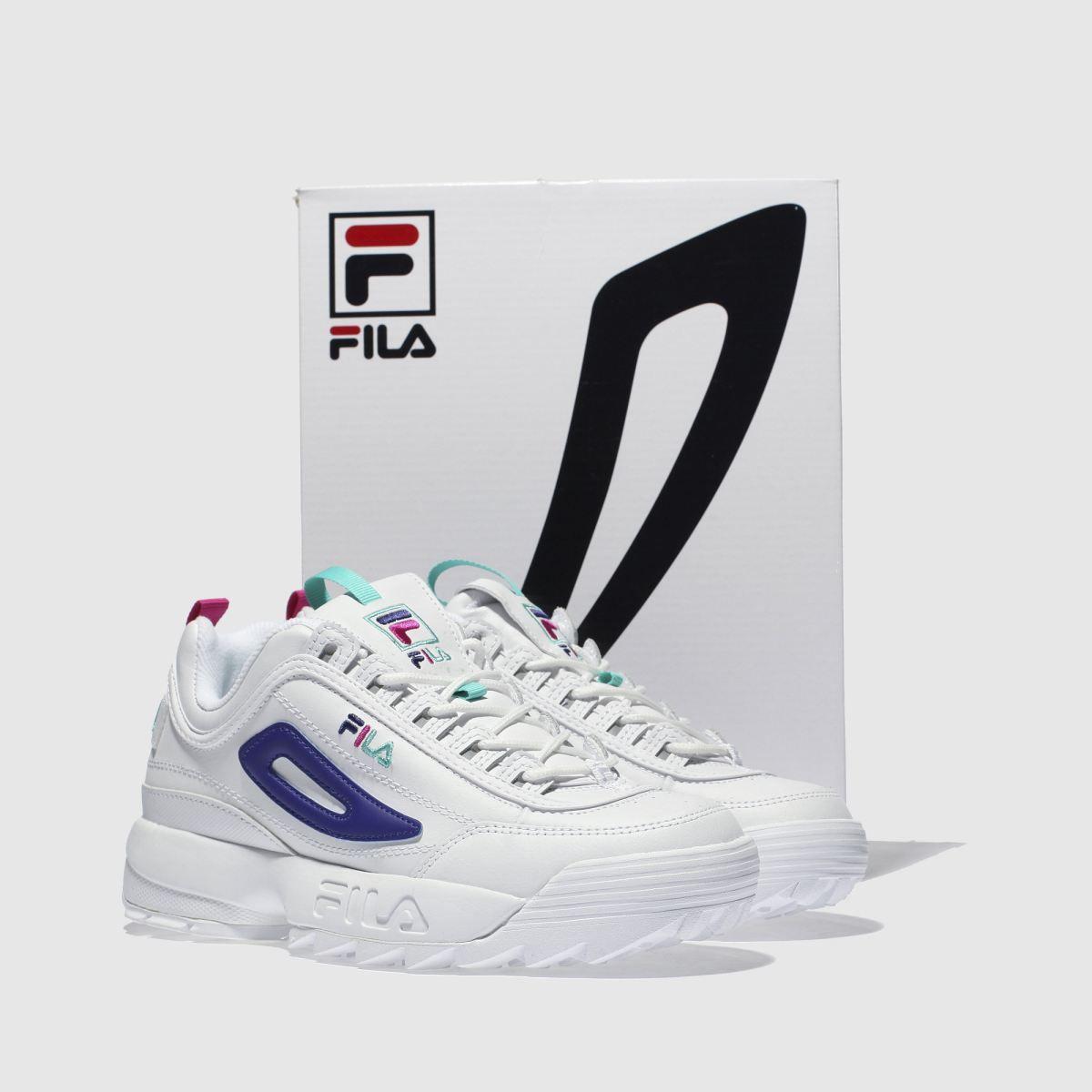 9826f154d1a4 fila white   purple disruptor ii premium l trainers