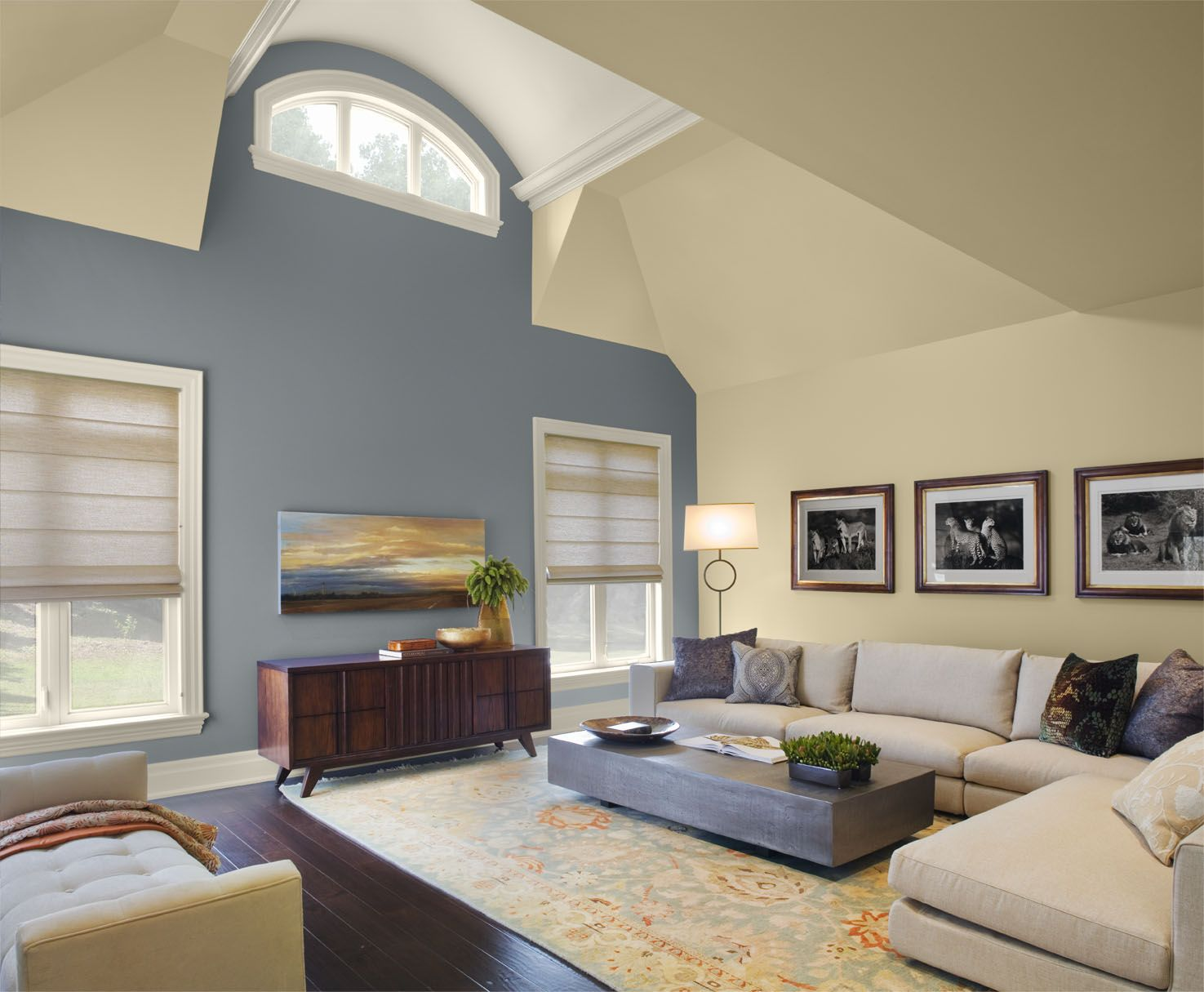 A living room 1 nopillow v6 arch ceiling detail navy walls and ceilings - Living room with cream walls ...