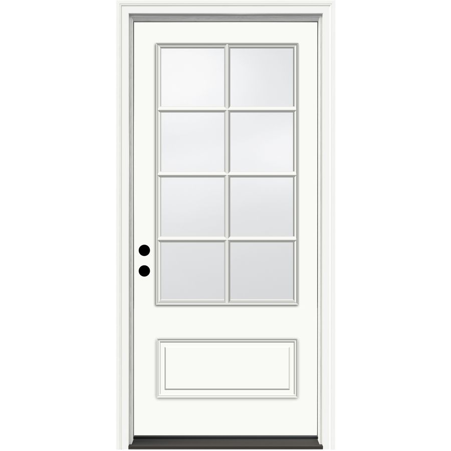 Jeld Wen Aurora 36 In X 80 In Fiberglass 3 4 Lite Right Hand Inswing Ivory Painted Prehung Single Front Door Brickm In 2020 Entry Doors Fiberglass Entry Doors Jeld Wen