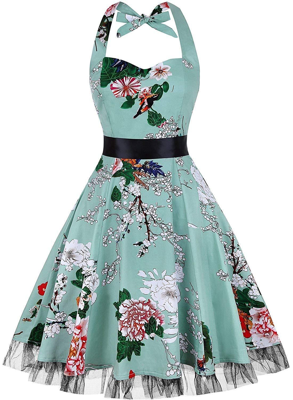 7974df753c5e4 OTEN Women's Vintage Polka Dot Halter Dress 1950s Floral Sping Retro  Rockabilly Cocktail Swing Tea Dresses