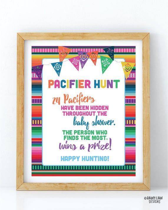 Fiesta Baby Shower Games, Pacifier Hunt Game, Pacifier Game Sign, Baby Fiesta Game, Baby Fiesta Sign, Mexican Fiesta, Papel Picado, Serape