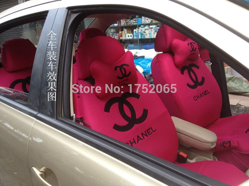 Channel Car Seat Covers For Leather Seats Accessories Interior Universal With Steering Wheel Cover Headrest Shoulder