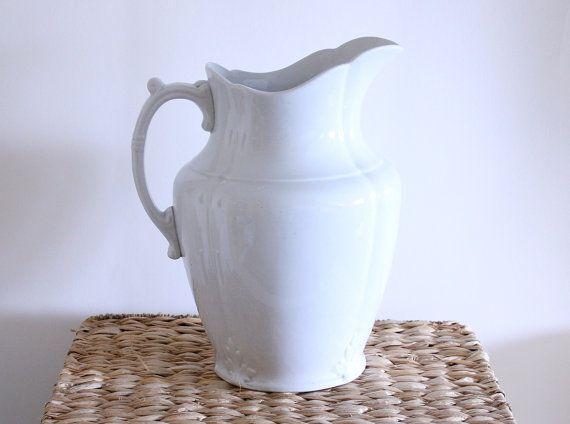 Antique Large White Ironstone Basin Pitcher  J & G by riceandbell, $69.95
