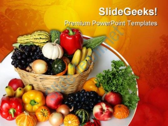 Fruits Vegetables Basket Food Powerpoint Templates And Powerpoint