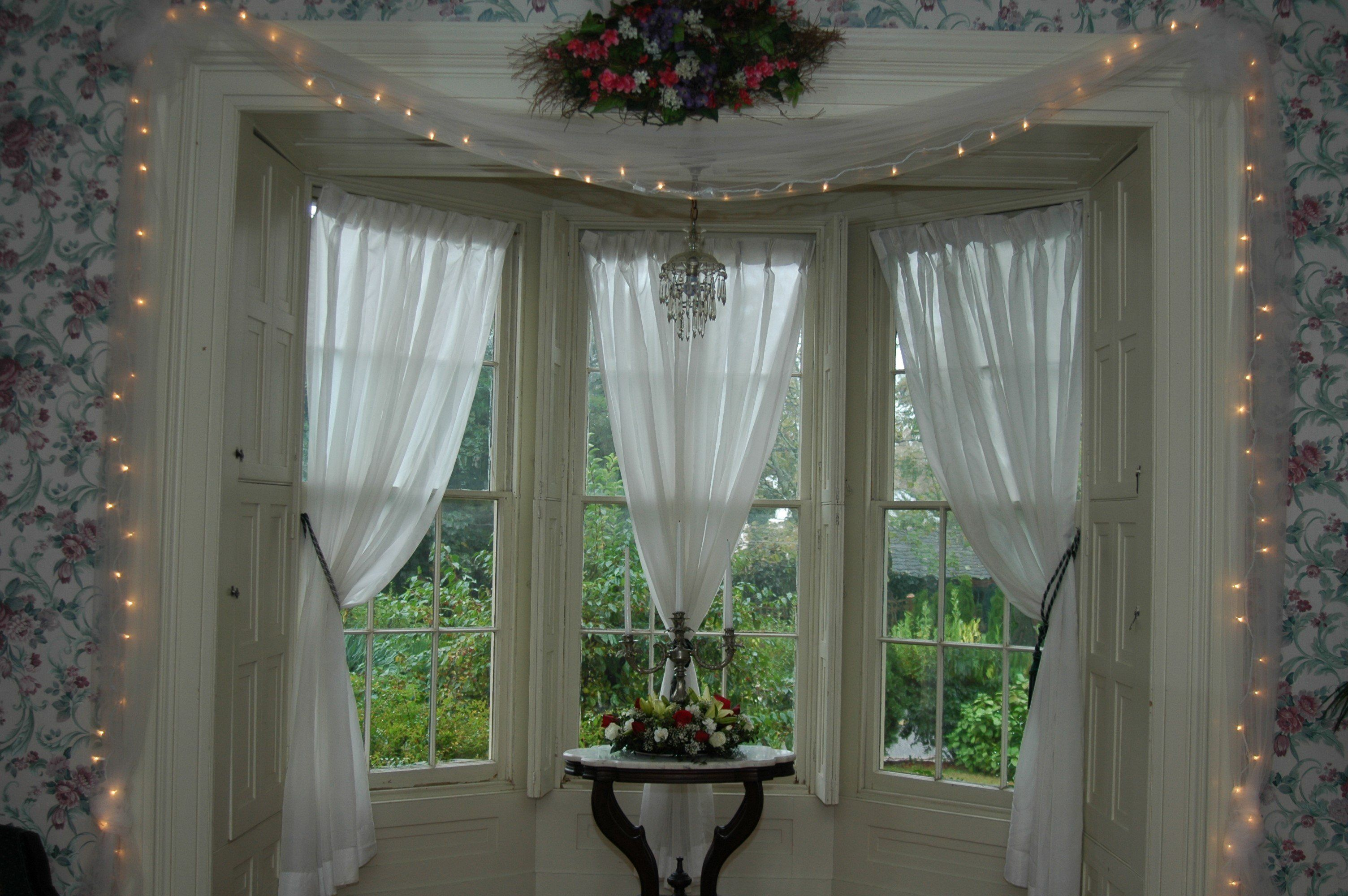 Interior Triple White Sheer Bay Window Curtains With Black Back