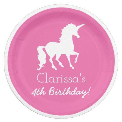 Pink White Unicorn Personalized Girls Birthday Paper Plate - girl gifts special unique diy gift idea  sc 1 st  Pinterest & Pink White Unicorn Personalized Girls Birthday Paper Plate