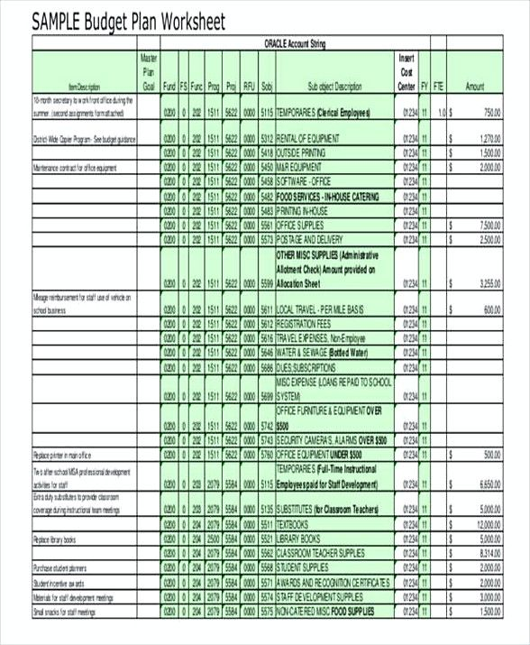 School Operating Budget Template  Operating Budget Template