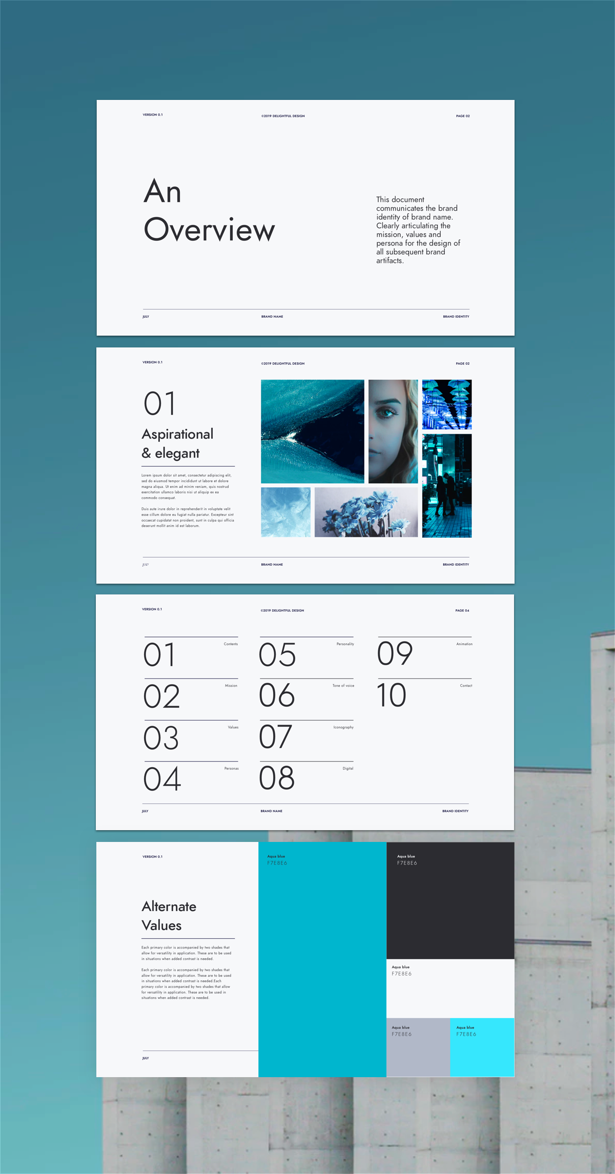 The minimal branding guidelines template. Is a brand manual presentation with over 30+ unique, minimal pages for designing your next brand #branding #brandguidelines