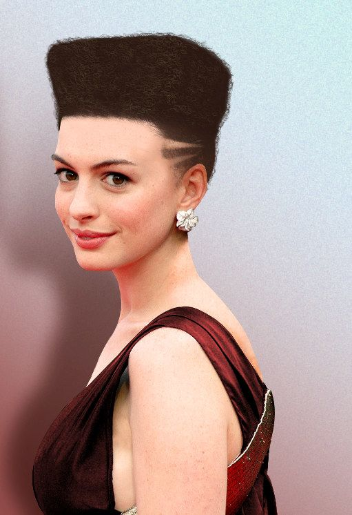 UPDATE — BuzzFeed News has now learned the original photoshopped image is by an artist named Gayle Abrams who made a series of celebrity hair photoshops for a design website in 2012. | This Barber's Sign Has A Photoshop Of Anne Hathaway With A Hi-Top Fade
