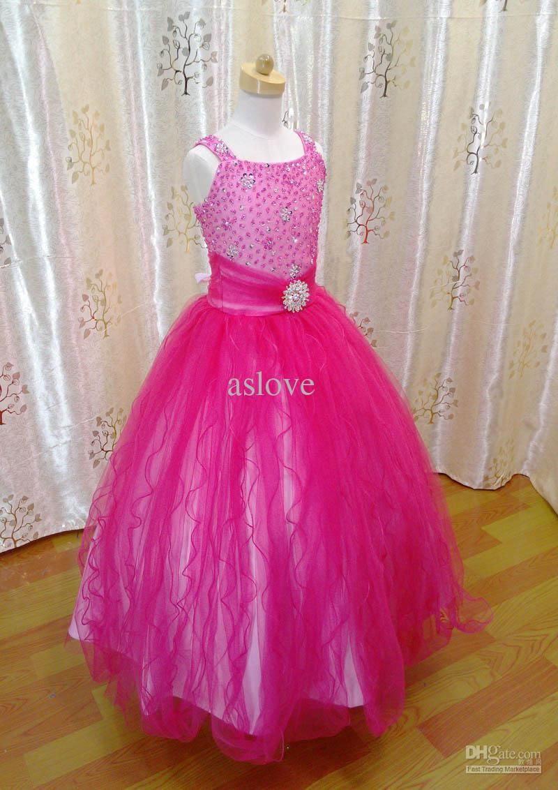 Cheap In Stock Hot Pink Fuchsia Tulle Beads Girls Pageant Dresses