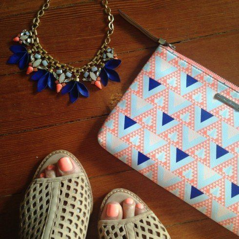 The Melia Necklace also looks so perfect with the Capri Pouch in Mosaic Triangle, which is no mistake; Stella & Dot's in house print designer used the shapes and colors of the Melia Necklace as a starting point to create the bright geo pattern for the bag. | Read the full blog on Stella & Dot