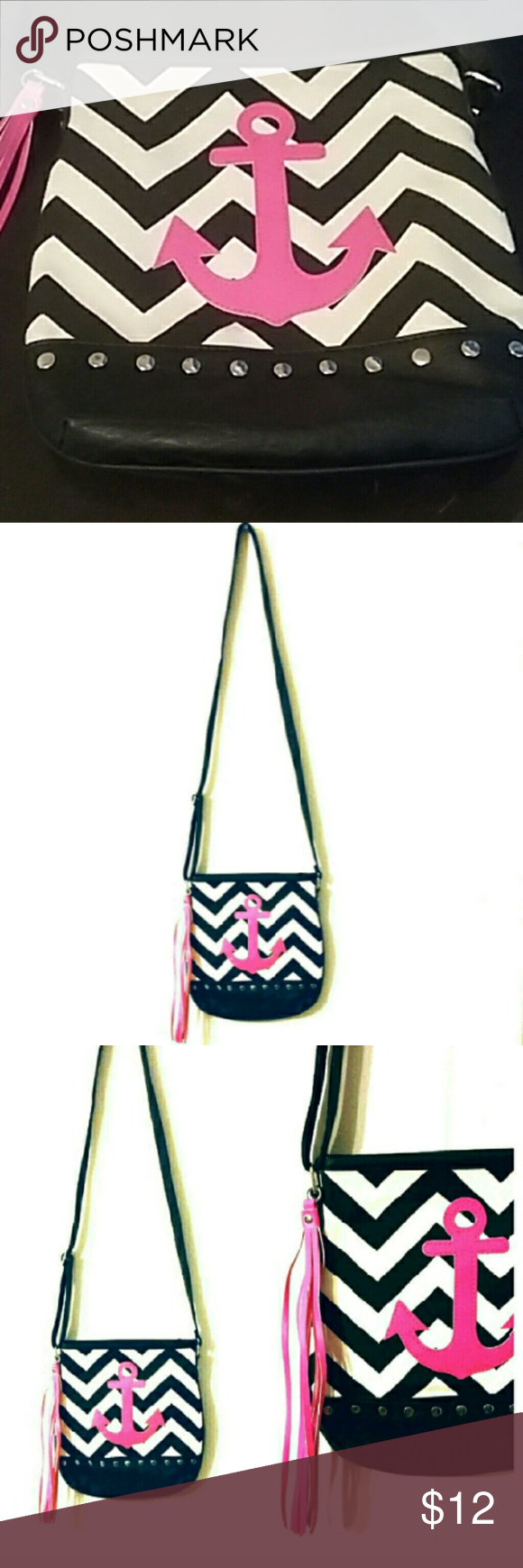"""chevron anchor crossbody bag Super cute black and white chevron crossbody bag with a hot pink anchor and fringe tassel. I ordered this off Posh NWT and only used for 1 day. I'm so sad that everything I need daily doesn't fit in this bag. So I have to reposh :( 10"""" X 9.5"""" Bags Crossbody Bags"""