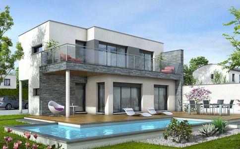 Maison toit plat Azur - plan maison contemporaine Plans de maisons - plan de maison sur terrain en pente