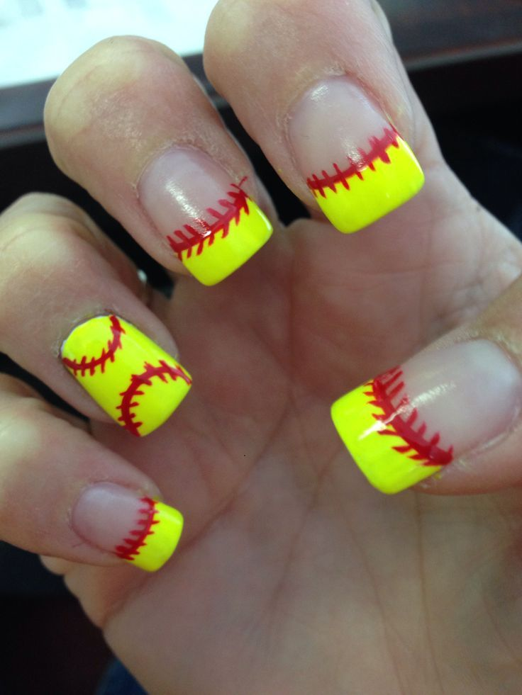 Softball nails for all those softball lovers. Change it to white for  baseball season! - Softball! Quinn And Ev Will Have To Try This! Baseball