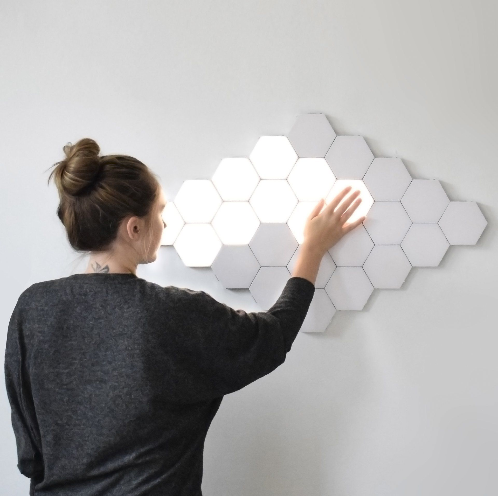 Nova Modern Wall Lamps 16pc Quantum Magnetic Hexagonal Wall Lamp Novarian Creations In 2020 Motion Lights Lighted Canvas Wall Lights