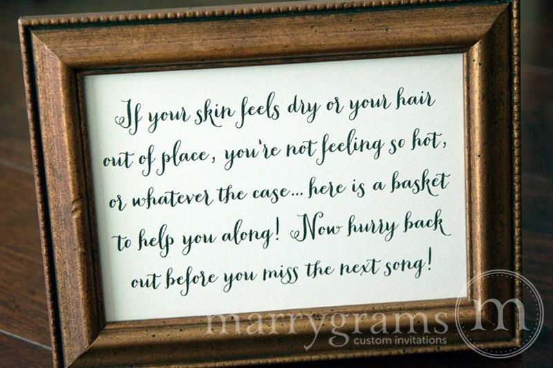 Wedding bathroom basket sign wedding reception signage for Bathroom basket ideas for wedding