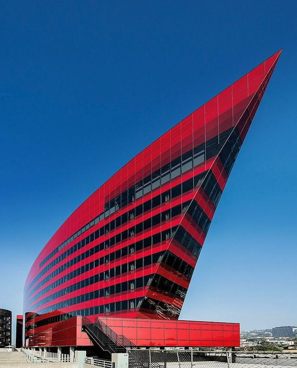Modern red pacific design center west hollywood for Architectural plans of famous buildings