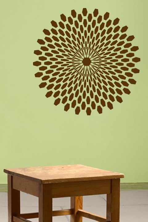 Circle of Hexagons Wall Sticker. A symmetrically ordered geometric ...