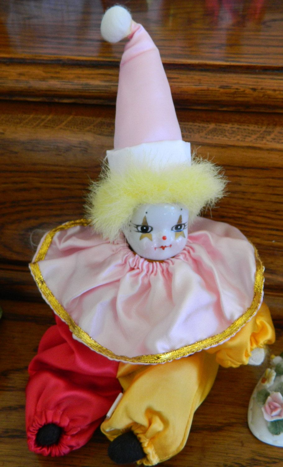 Beautiful Porcelain Head Clown Doll By Collectorscenter On Etsy Dolls