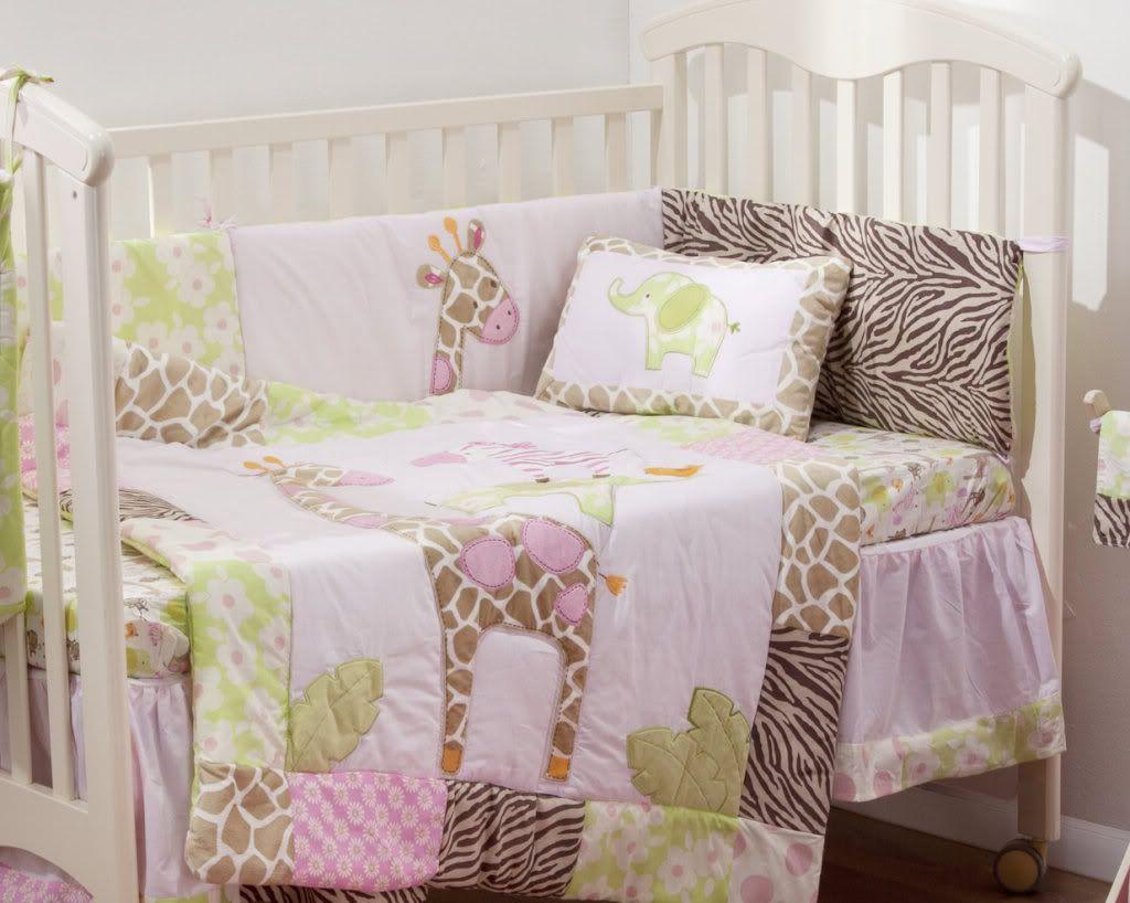 4 Piece Stunning Pink Safari Baby Crib Bedding Cot Set Rrp 250 00 Cot Sets Baby Crib Bedding Crib Bedding