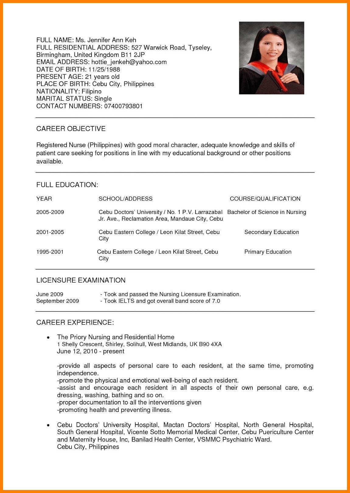 Resume Template for Nursing Luxury 8 Cv Nurse Example Of
